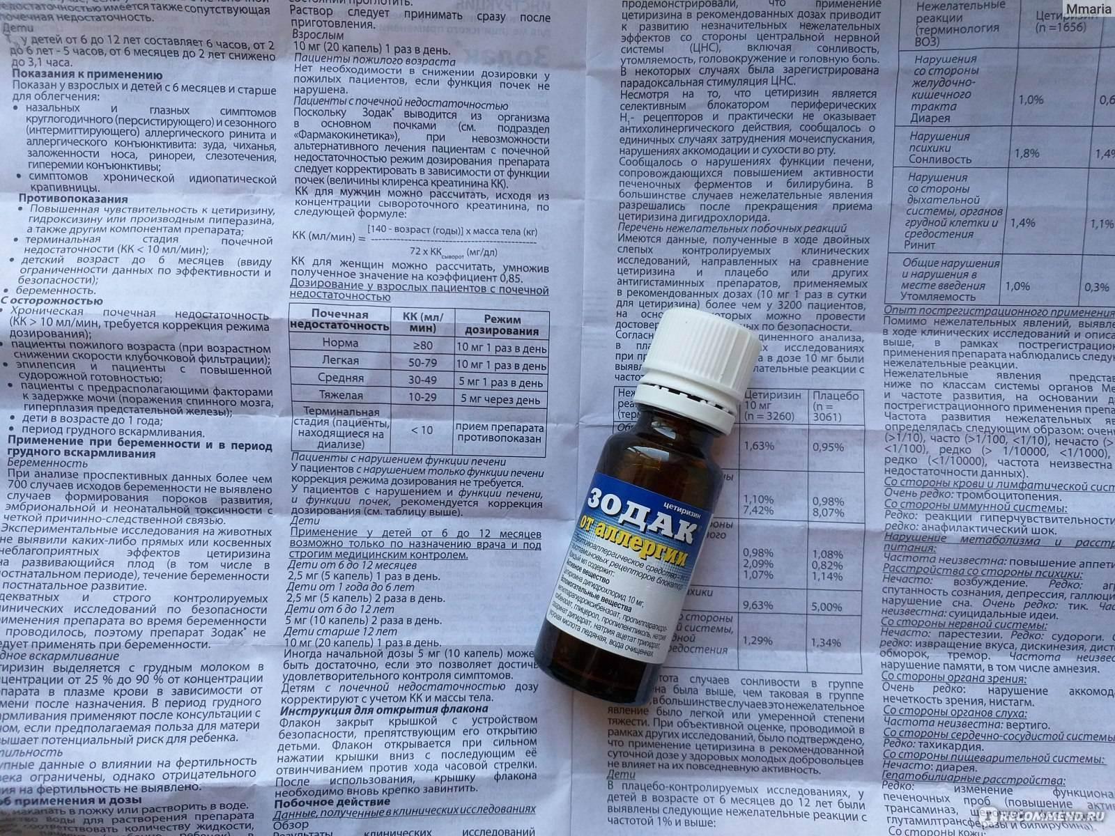 """""""зодак"""" от аллергии, капли: инструкция по применению, дозировка, отзывы - druggist.ru"""