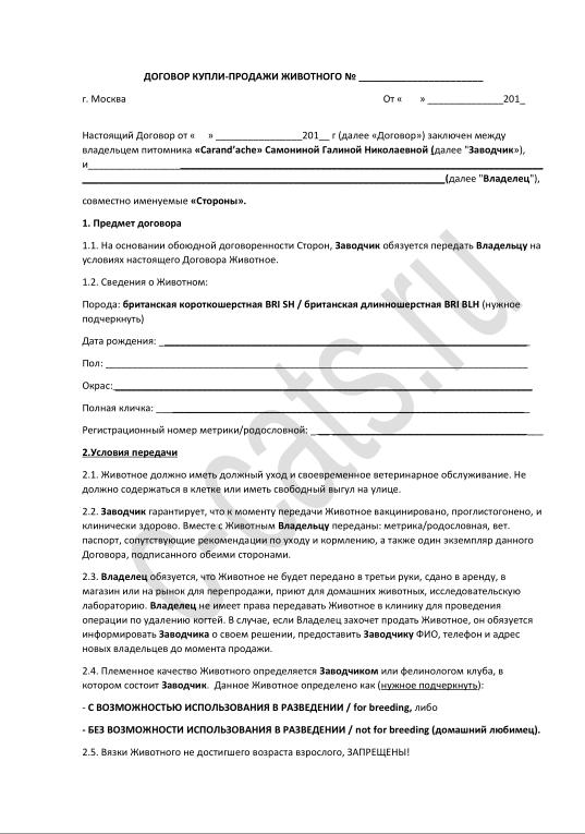 Документы на котенка: договор купли-продажи, родословная, ветеринарный паспорт