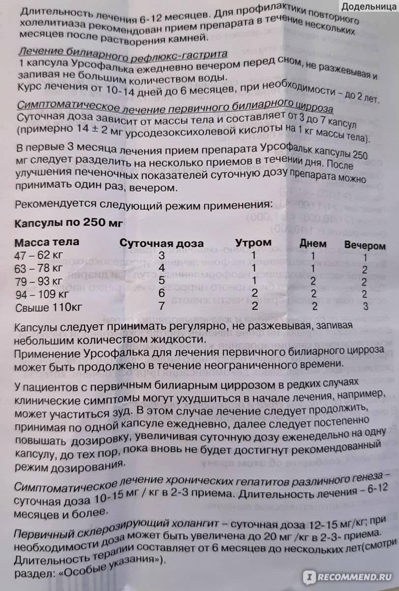 Урсофальк - 45 отзывов, инструкция по применению