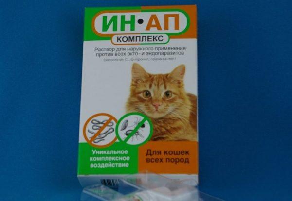 Ин-ап комплекс для кошек, инструкция по применению противопаразитарных капель