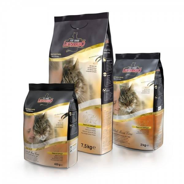 Леонардо: корм для кошек супер-премиум класса, его плюсы и минусы
