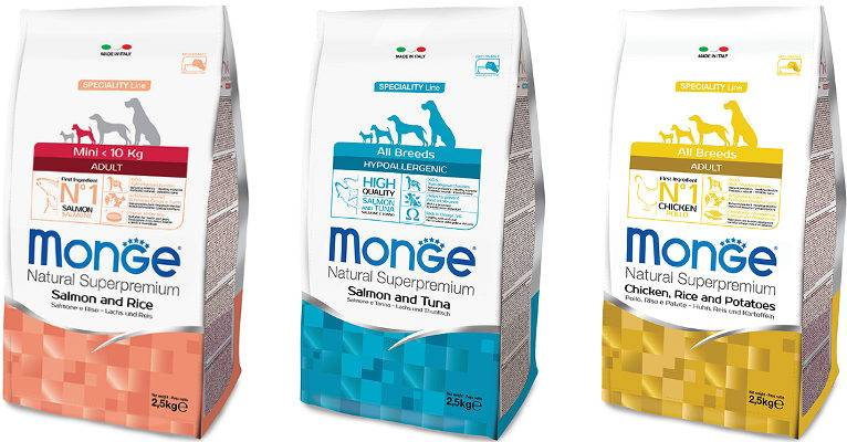 Обзор на корм для собак monge (монже): состав, отзывы, ассортимент