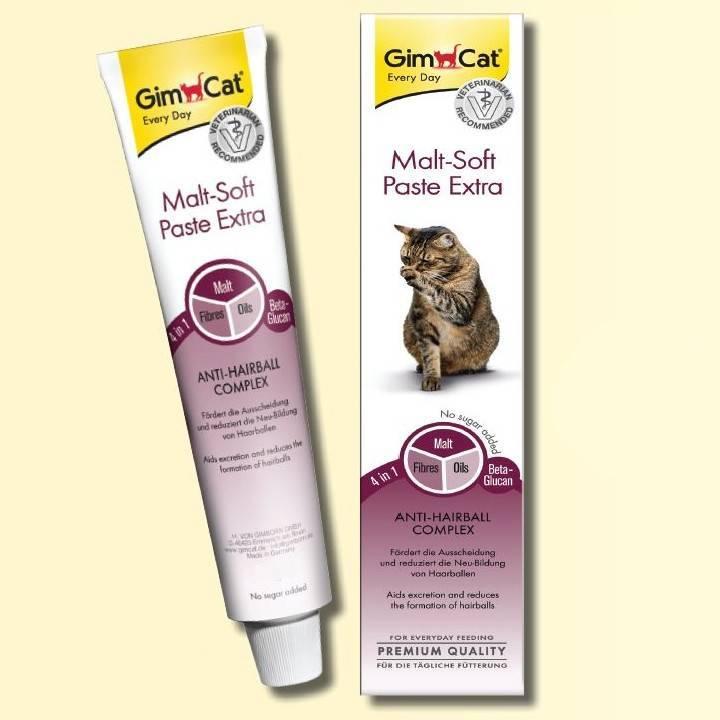 Пасты для избавления кошек от шерсти в желудке